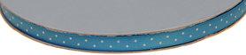Licht blauw dubbelzijdig satijnband met witte stippen 7 mm (ca. 30 m)