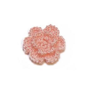 Gehaakt roosje licht zalm roze 25 mm (10 stuks)