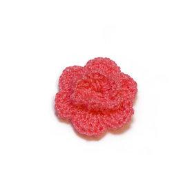 Gehaakt roosje NEON roze 25 mm (10 stuks)