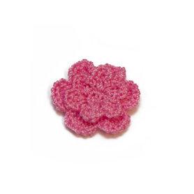 Gehaakt roosje roze 25 mm (10 stuks)