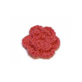 Gehaakt roosje oud roze 25 mm (10 stuks)