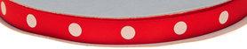 Rood dubbelzijdig satijnband met grote witte stippen 10 mm (ca. 30 m)