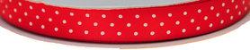 Rood dubbelzijdig satijnband met witte stippen 13 mm (ca. 30 m)