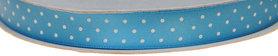 Licht blauw dubbelzijdig satijnband met witte stippen 13 mm (ca. 30 m)
