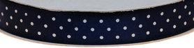 Donker blauw dubbelzijdig satijnband met witte stippen 15 mm (ca. 30 m)