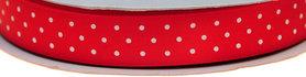 Rood dubbelzijdig satijnband met witte stippen 15 mm (ca. 30 m)
