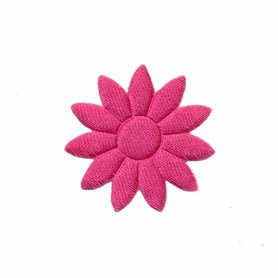 Applicatie bloem effen satijn fuchsia met puntige blaadjes klein 25 mm (ca. 100 stuks)