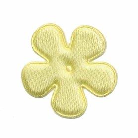 Applicatie bloem zacht geel satijn effen middel 35 mm (ca. 100 stuks)