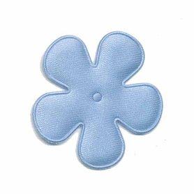 Applicatie bloem licht blauw satijn effen middel 35 mm (ca. 100 stuks)