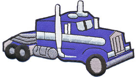 Opstrijkbare applicatie Amerikaanse truck blauw (5 stuks)