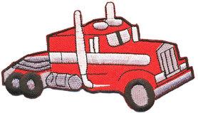 Opstrijkbare applicatie Amerikaanse truck rood (5 stuks)