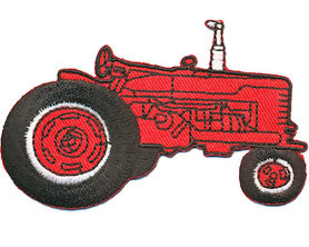 Opstrijkbare applicatie tractor rood (5 stuks)