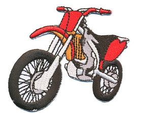 Opstrijkbare applicatie crossmotor rood (5 stuks)