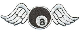 Opstrijkbare applicatie 8-ball met vleugels (5 stuks)