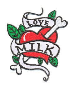 Opstrijkbare applicatie tattoo 'Love MILK' (5 stuks)