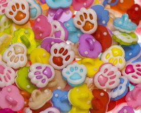 Kinderknoopje pootje MIX kleuren ca. 12x13 mm (ca. 200 stuks)