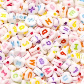 Letterkralen wit hartjes vorm ca. 7 mm (ca. 225 stuks)
