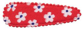 Haarkniphoesje rood met bloem 5 cm (ca. 100 stuks)