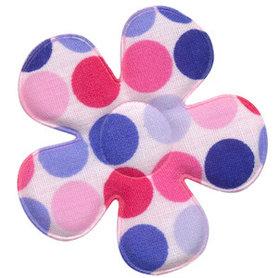 Applicatie bloem wit met multicolor stippen roze-lichtblauw-blauw groot 45 mm (ca. 100 stuks)