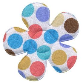 Applicatie bloem wit met multicolor stippen blauw-bruin-lila-meloen groot 45 mm (ca. 100 stuks)