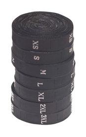 Maatlabels zwart - maat L (ca. 300 stuks)