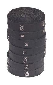 Maatlabels zwart - maat XS (ca. 300 stuks)