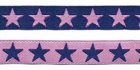 Donker blauw sierband met roze sterren 2-zijdig 12 mm (ca. 22 m)