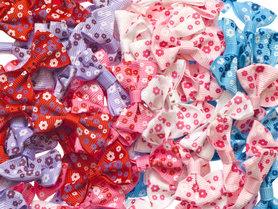 Strikje met bloemetjes mix kleuren 40x25 mm (ca. 100 stuks)