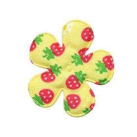 Applicatie bloem geel met aardbeien print katoen middel 35 mm (ca. 100 stuks)