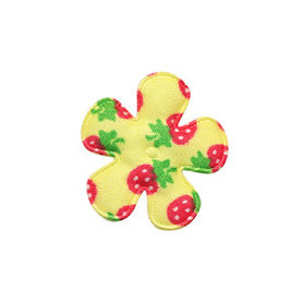 Applicatie bloem geel met aardbeien print katoen klein 25 mm (ca. 100 stuks)