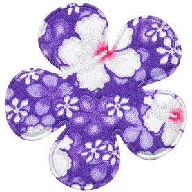Applicatie bloem paars zomerse print EXTRA GROOT 65 mm (ca. 100 stuks)