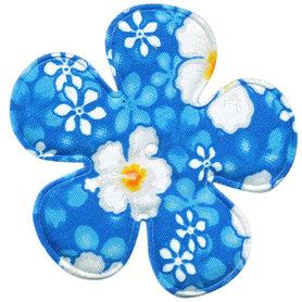 Applicatie bloem aqua zomerse print EXTRA GROOT 65 mm (ca. 100 stuks)