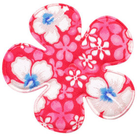 Applicatie bloem roze zomerse print EXTRA GROOT 65 mm (ca. 100 stuks)