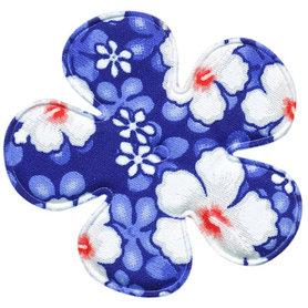 Applicatie bloem kobalt blauw zomerse print EXTRA GROOT 65 mm (ca. 100 stuks)