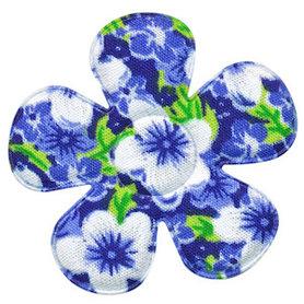 Applicatie bloem blauw met zomerse bloem katoen groot 45 mm (ca. 100 stuks)