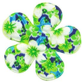 Applicatie bloem groen met zomerse bloem katoen groot 45 mm (ca. 100 stuks)