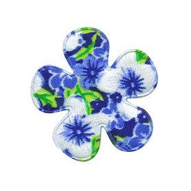 Applicatie bloem blauw met zomerse bloem middel 35 mm (ca. 100 stuks)