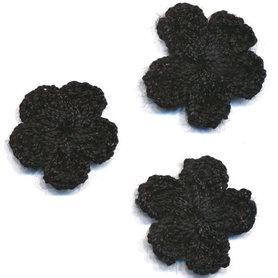 Gehaakt bloemetje zwart 20 mm (10 stuks)
