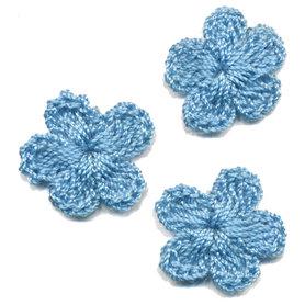 Gehaakt bloemetje blauw 20 mm (10 stuks)