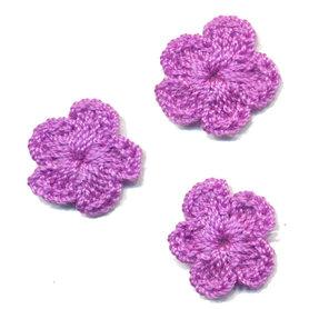 Gehaakt bloemetje lila 20 mm (10 stuks)