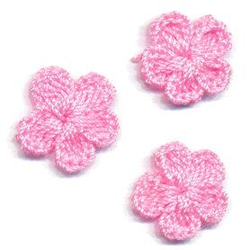 Gehaakt bloemetje licht roze 20 mm (10 stuks)