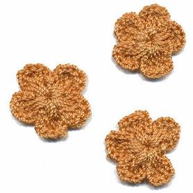Gehaakt bloemetje leverbruin 20 mm (10 stuks)