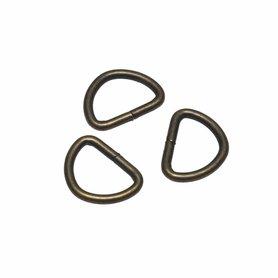 Metalen D-ring bronskleurig 20 mm (ca. 25 stuks)