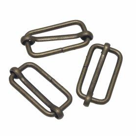 Metalen schuifgesp bronskleurig 30 mm (10 stuks)