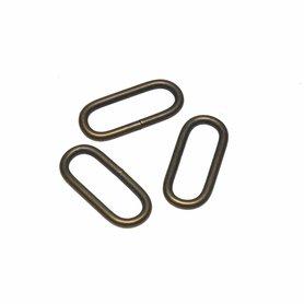 Metalen passant met ronde hoeken bronskleurig 25 mm (ca. 25 stuks)