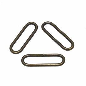 Metalen passant met ronde hoeken bronskleurig 38 mm (ca. 25 stuks)