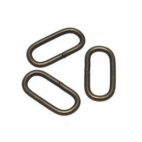 Metalen passant met ronde hoeken bronskleurig ZWAAR 30 mm (ca. 25 stuks)