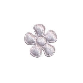 Applicatie bloem zilvergrijs satijn effen klein 20 mm (ca. 100 stuks)