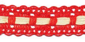 Rood kant met creme ingevlochten bandje 25 mm (ca. 16 meter)