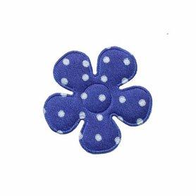 Applicatie bloem kobalt blauw met witte stippen satijn klein 27 mm (ca. 100 stuks)